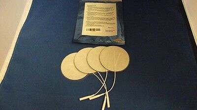 4 Replacement Electrode Pads for Massagers /Tens Units 3 inch Round White Cloth