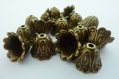 14 pce Antique Bronze Bell Flower Bead Caps 15mm x 11mm Jewellery Making Craft