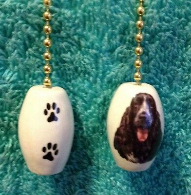 One English Cocker Spaniel Fan Pull With Paw Prints On The Back 1""