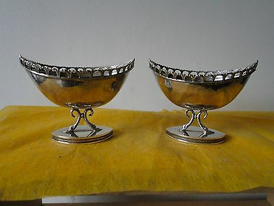 Salt Cellars, Sterling Silver, Spanish, C 1940, Hand Hammered, Fully Marked