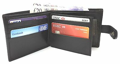 MENS QUALITY SOFT GENUINE BLACK LEATHER WALLET CREDIT CARD HOLDER COIN POUCH