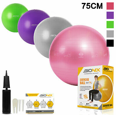 Gym Ball 75cm Exercise Fitness Aerobic Yoga Core Swiss Workout Dual Action Pump