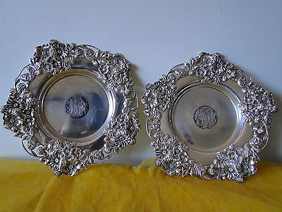 Sterling Silver Pair  Pierced Flower Border Dish, Fully Marked America 1870