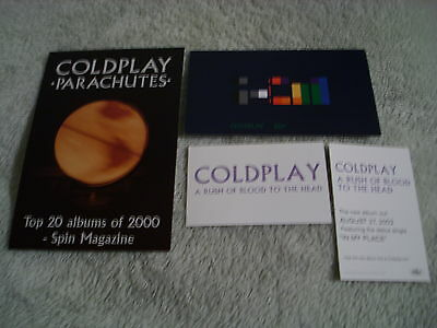 RARE PROMO Coldplay POSTCARD + 3 ad cards Parachutes X&Y A Rush of Blood to Head