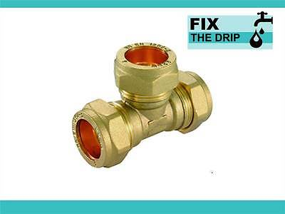 TRADE PACK 3 x FtD 22mm BRASS Equal Compression Tee fitting