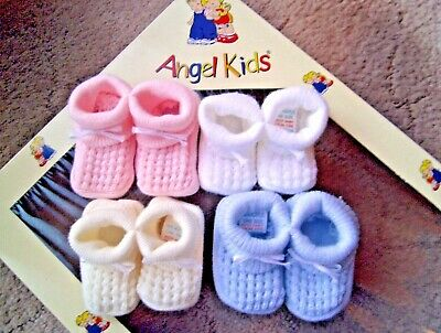 Newborn + Baby Blue/Pink/White Boy/Girl Acrylic Knitted Bow Bootee/Booties Socks