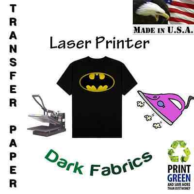 """Laser Iron-On Heat Transfer Paper For Dark fabric 8.5""""x11"""" 10 Sheets Red Line :)"""