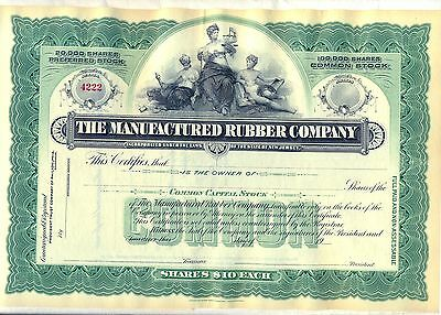 The Manufactured Rubber Company Stock Certificate New Jersey