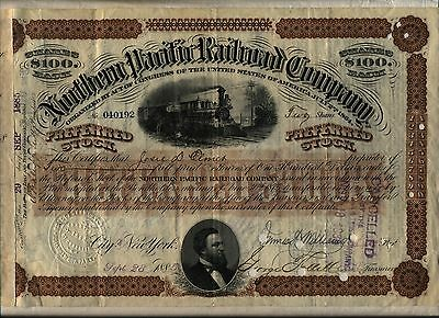 Northern Pacific Railroad Company Stock Certificate Brown