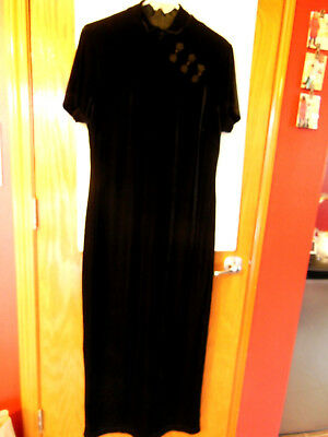 Gorgeous Amanda Smith Black Velour Stretch maxi Dress  Size 10 Chinese Style