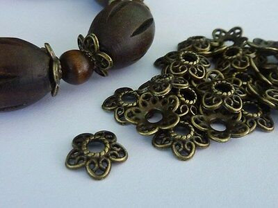 60 pce Fancy Ornate Antique Bronze Flower Bead Caps 12mm