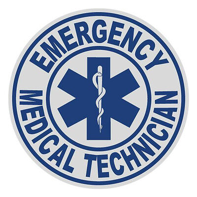 Emergency Medical Technician EMT Small Round Reflective Emergency Decal Sticker