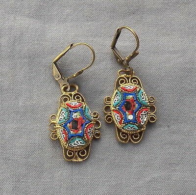 Vintage Drop Dangle Filigree Floral Victorian Style Micro Mosaic Earrings
