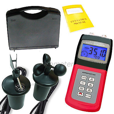 Handheld Digital Anemometer Thermometer Air Velocity Flow Speed Wind Gauge Meter