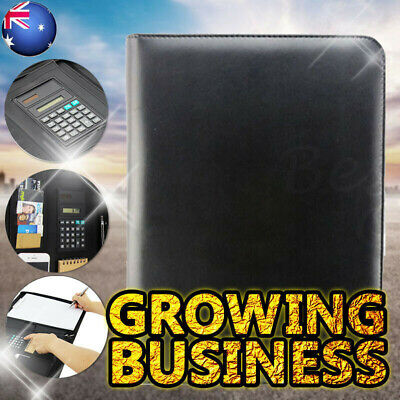 A4 Black Business Folder Folio Portfolio Zippered Clipboard PU Leather iPad Case