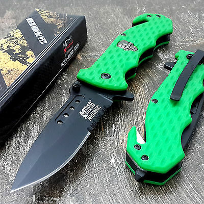 """8.5"""" TACTICAL MTECH USA Spring Assisted Opening Knives ZOMBIE GREEN Rescue Knife"""
