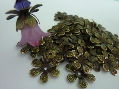 50 pce Antique Bronze Metal Flower Petal Bead Caps 16mm