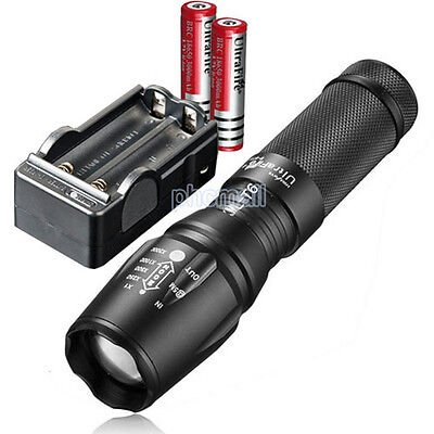 Ultrafire 2200LM CREE XM-L T6 LED Flashlight Focus Torch 2x18650 Battery Charger