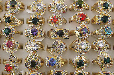 New Mixed Lots 20pcs Big Crystal Rhinestone&zircon Colorful Women Gold P rings