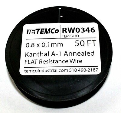0.8 x 0.1 mm - Flat A1 Kanthal Wire - 50ft Spool     ( RW0346 )