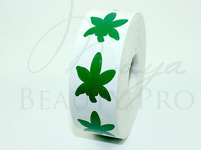 Roll of 1000 HEMP LEAF Tanning Sticker Scrapbooking SpraytanTanning Bed Tattoo