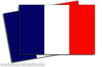 FRANCE FRENCH FLAGS VINYL DECAL BUMPER STICKERS 2 Pack 7 inches wide