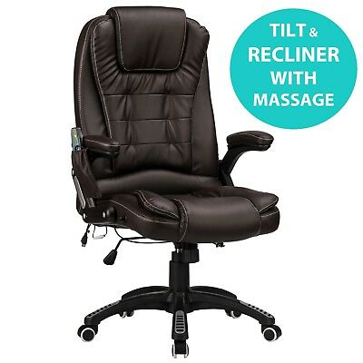 Raygar Brown 6-Point Massage Luxury Leather Reclining Office Computer Desk Chair