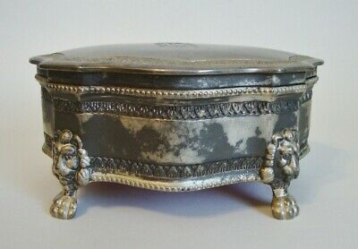 "Vintage Footed Heavy Metal Jewelry Box - Hinged Lid - 6 1/4"" W x 2 5/8"" H (120)"