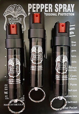 3 PACK Police Magnum pepper spray 3/4oz Keyring Pocket Clip Defense Security