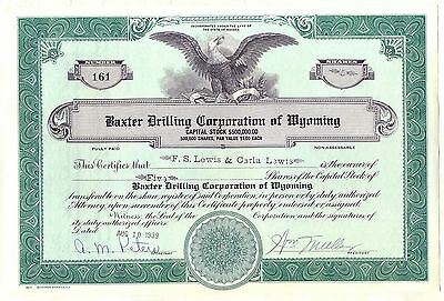 Baxter Drilling Corporation of Wyoming Stock Certificate Nevada Oil Gas