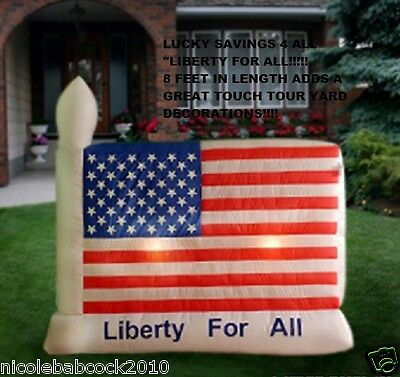 """8 FEET WIDE PATRIOTIC AMERICAN FLAG """"LIBERTY FOR ALL"""" AIRBLOWN 4 JULY INFLATABLE"""