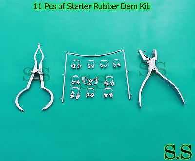 11 Pcs of Starter Rubber Dam Kit Stainless Steel