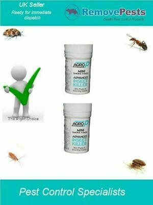 2 x woodlice silverfish ants moth Insects  bomb Treatments AGRO P Mini