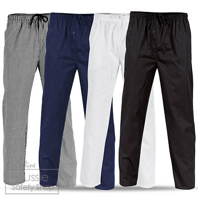 Unisex Chef Wear Food Hospitality Pants Trousers - Black/Navy/White/Checkered