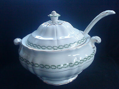 Booths Silicon China  Large Soup Tureen with laurel design c/w  Ladle