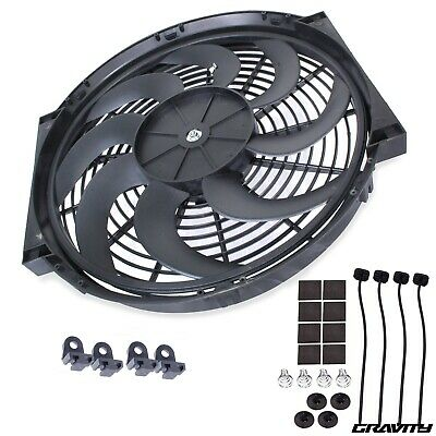 "16"" Curved Blade Engine Radiator Intercooler Cooling Electric 12V 120W Fan Kit"