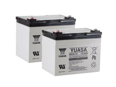 Pair of Yuasa 36AH Batteries Mobility Scooter Wheelchair Replaces 32 33 34AH   V