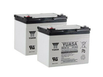 Pair of Yuasa 36AH Batteries for Mobility Scooter Wheelchair Replaces 32 33 34AH