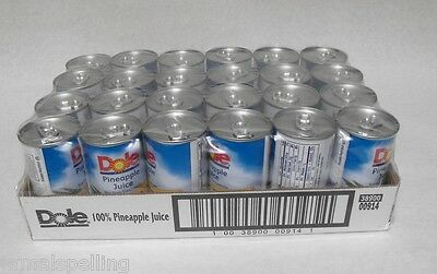 24 piece DOLE 100% PINEAPPLE JUICE 6oz Cans Tiki Drink Cocktail FREE SHIP IN USA
