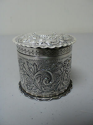 GORGEOUS 19th C. ENGLISH STERLING SMALL ROUND LIDDED BOX, ENGRAVED FLORAL DESIGN