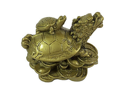 Dragon Turtle Tortoise Statue Figurine Coin Money Wealth Gold Resin Feng Shui