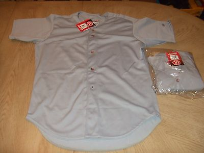 NEW Rawlings WKBDS Baseball Adult Game Jersey WHITE GRAY Button Front Shirt