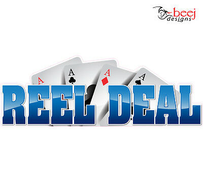 Reel Deal sticker - 300x105mm - Fishing Boat tackle decal Rod cards