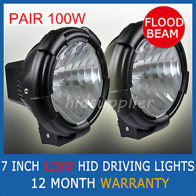2Pcs 7Inch 100W Hid Xenon Driving Lights Flood Offroad Lights 12V  Euro Ute 4Wd