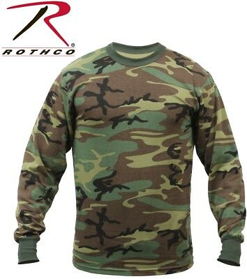 Woodland Camouflage Army Long Sleeve T-Shirt Tactical Military Shirt Rothco 6778