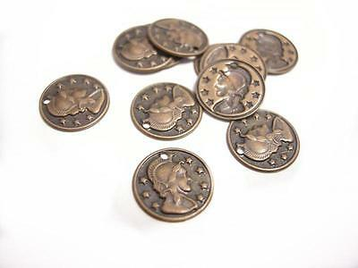 50pc 10mm antique copper finish brass made coin pendants/charms-8417