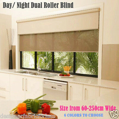 Dual Day/Night double Roller Blinds Fits 60-210cm (width)x 210cm (drop)-3 colors