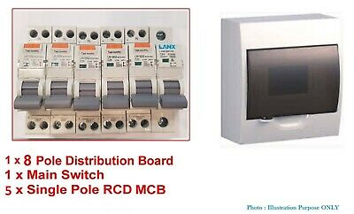 Complete 8 Pole Distribution Sub Board Switchboard Safety Switches RCD MCB RCBO