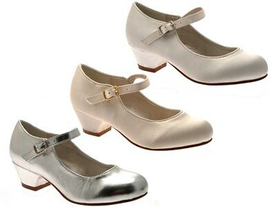 Girls Kids Mary Jane Party Satin Shoes Bridesmaids Small Heels Wedding Size 8-2