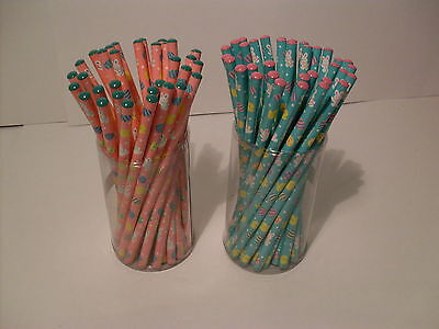 "EASTER PENCILS 7"" LOT OF 66~NEW~PARTY FAVOR SUPPLY~BASKET HUNTS~SPRING EGG GIFTS"